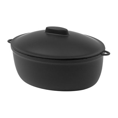 Small 500ml Black Oval Cooking Pot with Lid