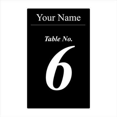 Black with White Print Table No. Ticket